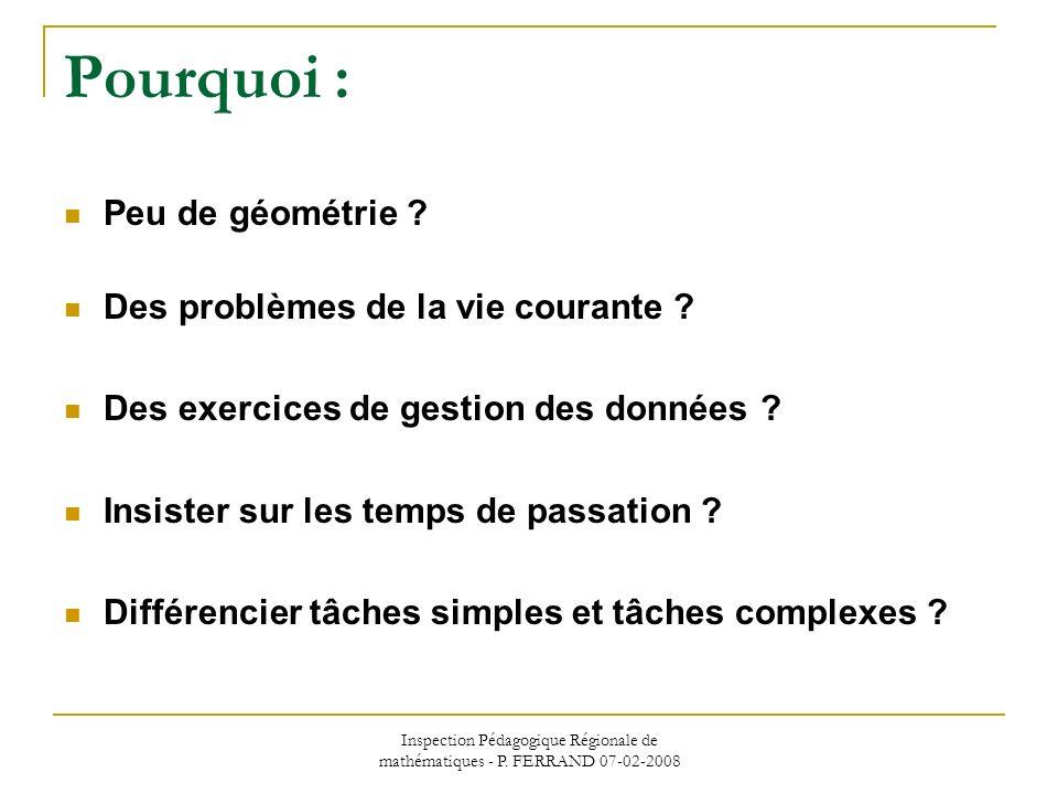 Inspection Pédagogique Régionale de mathématiques - P. FERRAND 07-02-2008 Pourquoi : Peu de géométrie ? Des problèmes de la vie courante ? Des exercic