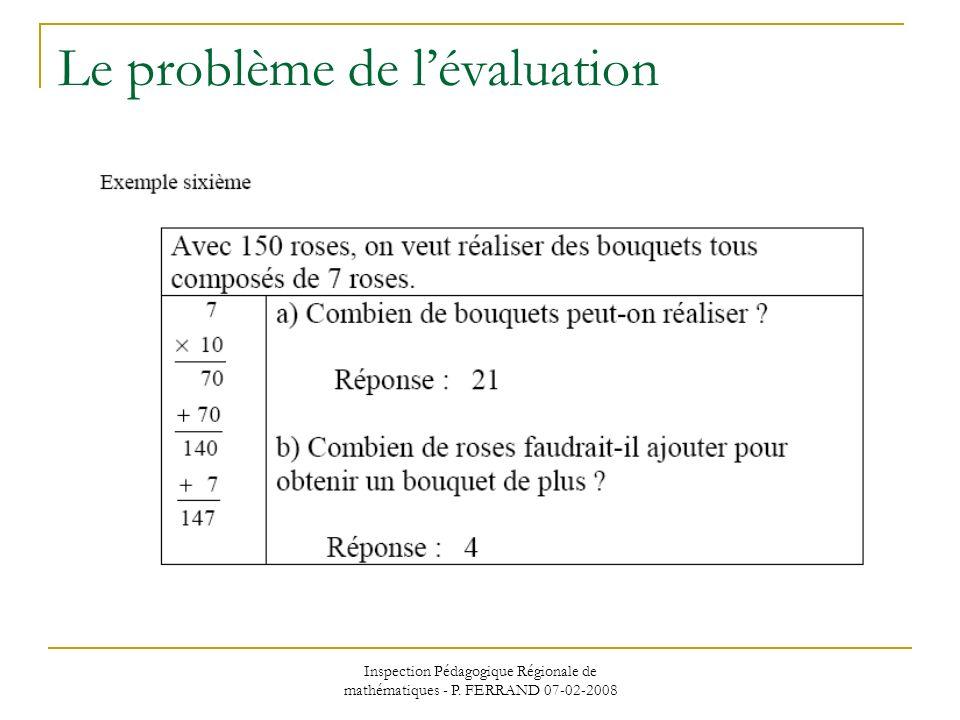Inspection Pédagogique Régionale de mathématiques - P. FERRAND 07-02-2008 Le problème de lévaluation