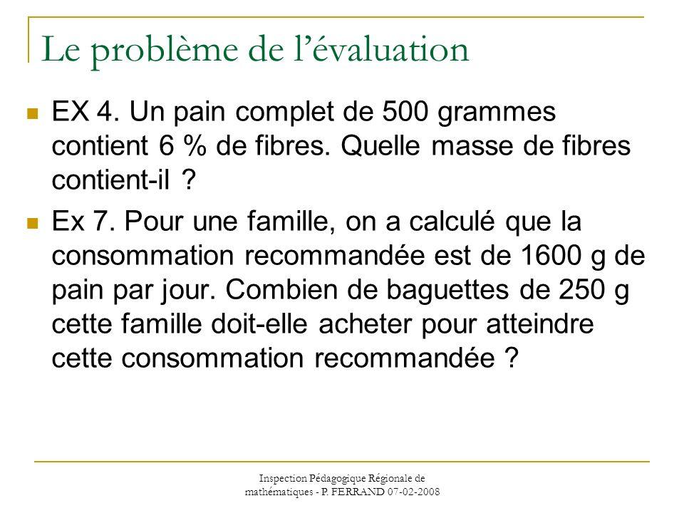 Inspection Pédagogique Régionale de mathématiques - P. FERRAND 07-02-2008 Le problème de lévaluation EX 4. Un pain complet de 500 grammes contient 6 %
