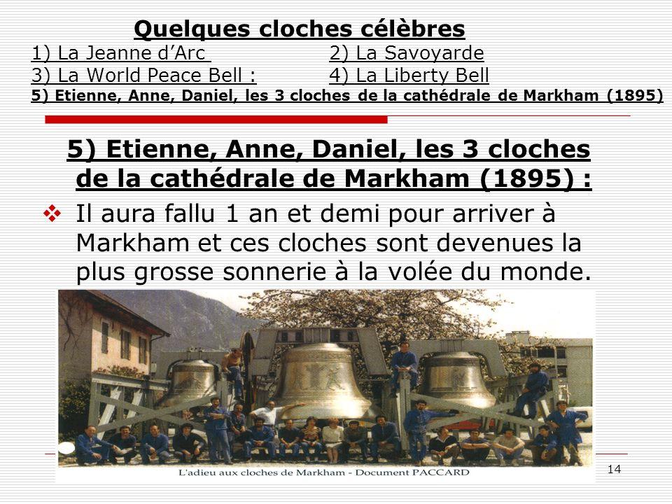 14 Quelques cloches célèbres 1) La Jeanne dArc 2) La Savoyarde 3) La World Peace Bell : 4) La Liberty Bell 5) Etienne, Anne, Daniel, les 3 cloches de