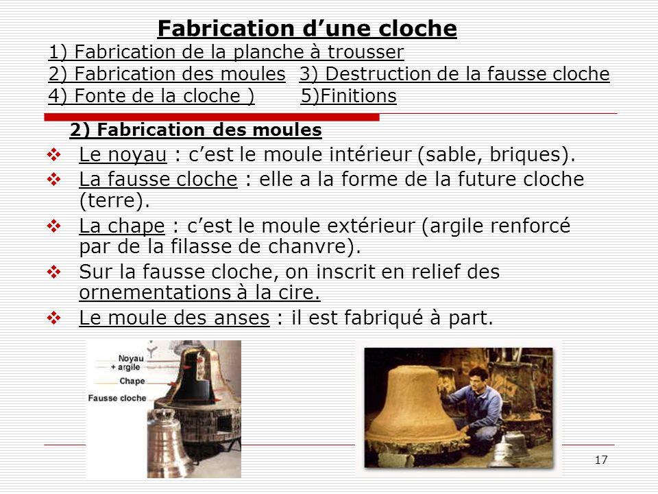 17 2) Fabrication des moules Le noyau : cest le moule intérieur (sable, briques). La fausse cloche : elle a la forme de la future cloche (terre). La c