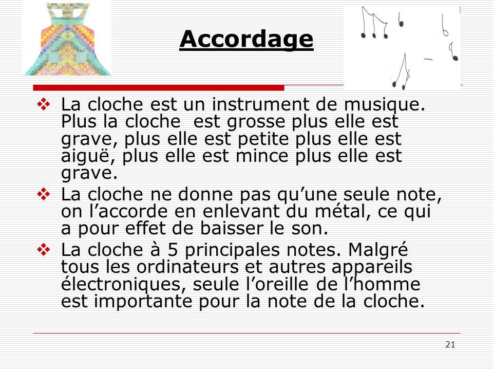 21 Accordage La cloche est un instrument de musique. Plus la cloche est grosse plus elle est grave, plus elle est petite plus elle est aiguë, plus ell