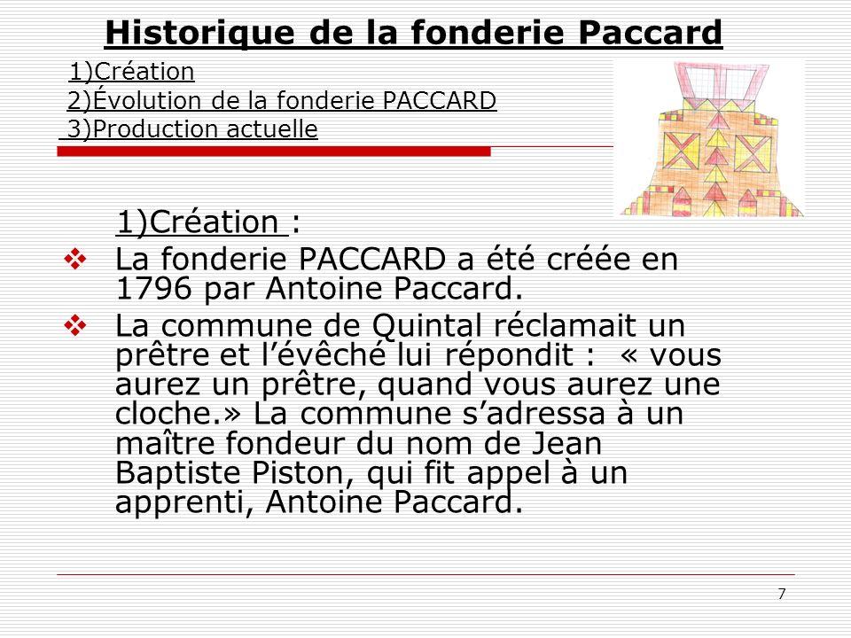 7 Historique de la fonderie Paccard 1)Création 2)Évolution de la fonderie PACCARD 3)Production actuelle 1)Création : La fonderie PACCARD a été créée e