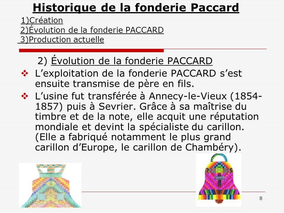 8 2) Évolution de la fonderie PACCARD Lexploitation de la fonderie PACCARD sest ensuite transmise de père en fils. Lusine fut transférée à Annecy-le-V