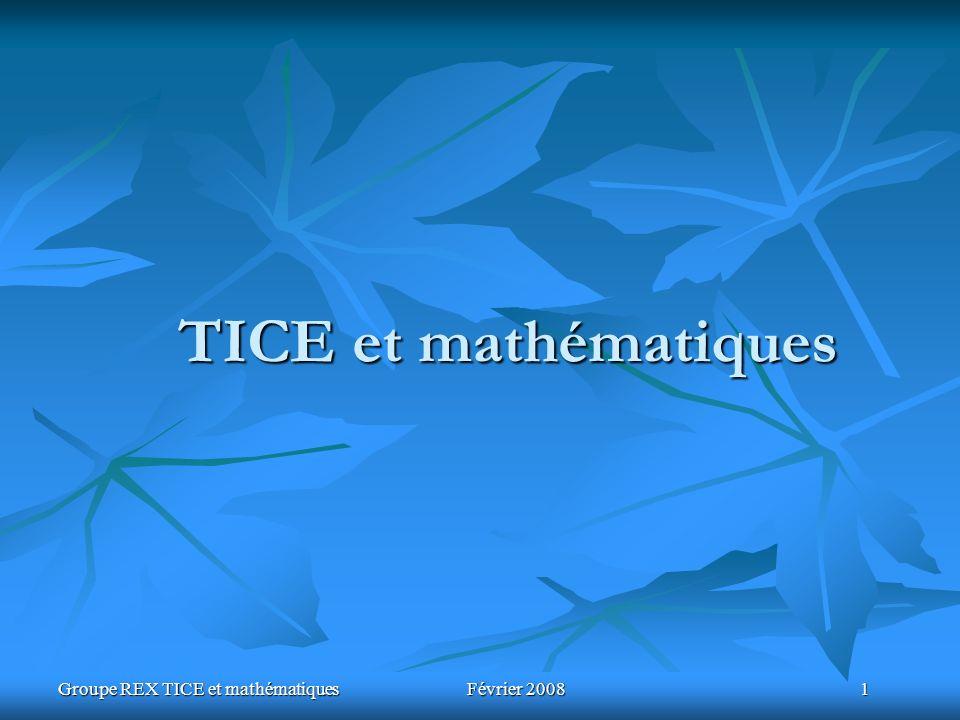 Groupe REX TICE et mathématiques Février 2008 1 TICE et mathématiques
