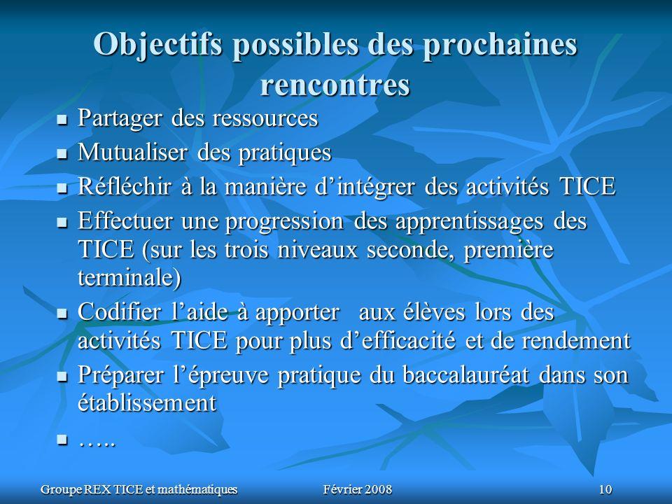 Groupe REX TICE et mathématiquesFévrier 2008 10 Objectifs possibles des prochaines rencontres Partager des ressources Partager des ressources Mutualis