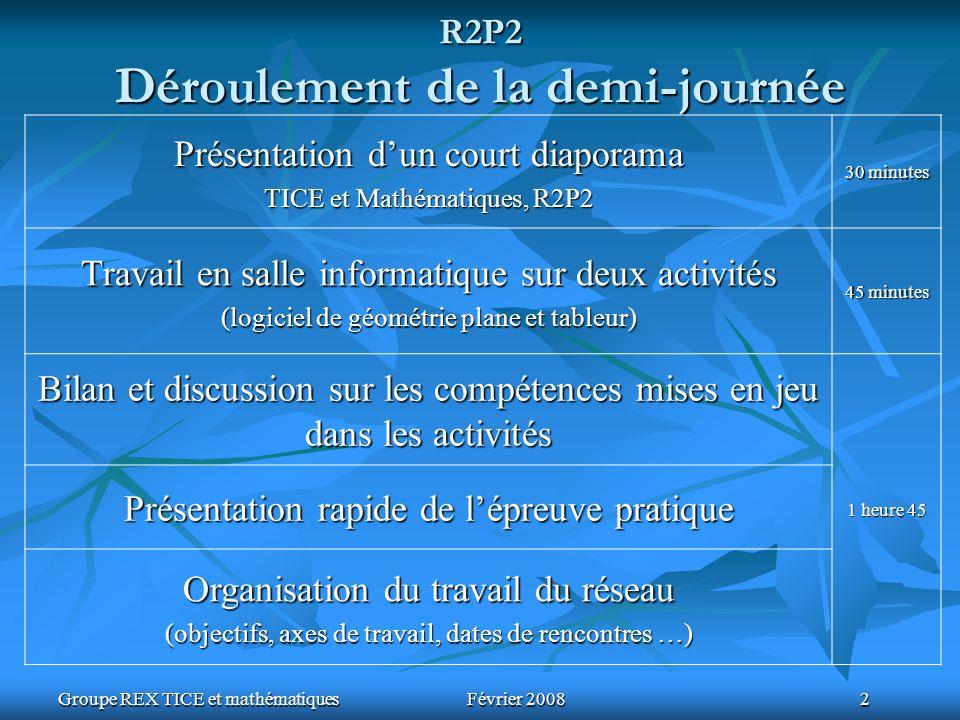Groupe REX TICE et mathématiquesFévrier 2008 2 R2P2 Déroulement de la demi-journée Présentation dun court diaporama TICE et Mathématiques, R2P2 30 min