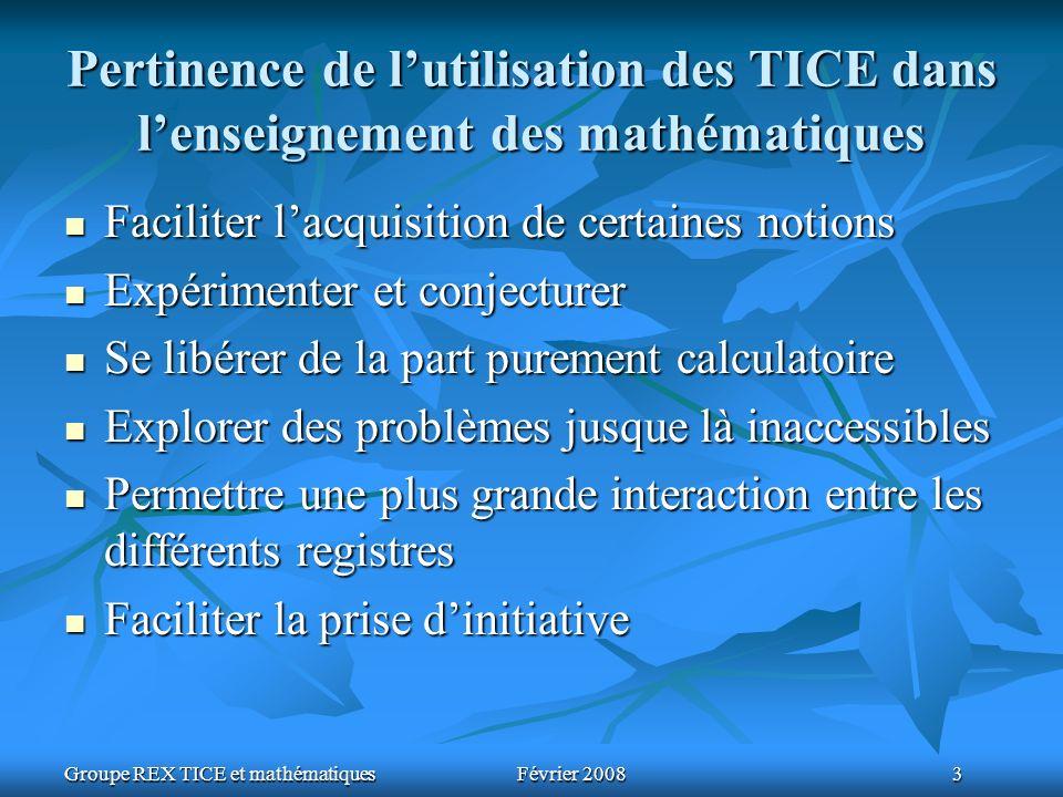 Groupe REX TICE et mathématiquesFévrier 2008 3 Pertinence de lutilisation des TICE dans lenseignement des mathématiques Faciliter lacquisition de cert