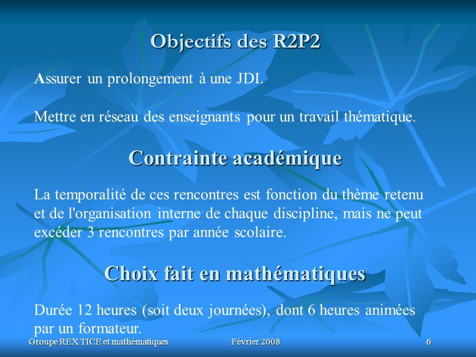 Groupe REX TICE et mathématiques Février 2008 6 Objectifs des R2P2 Assurer un prolongement à une JDI. Mettre en réseau des enseignants pour un travail