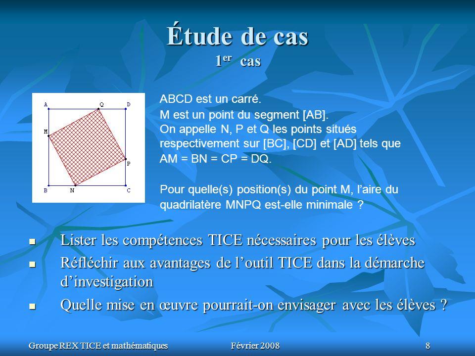 Groupe REX TICE et mathématiquesFévrier 2008 8 Étude de cas 1 er cas ABCD est un carré. M est un point du segment [AB]. On appelle N, P et Q les point