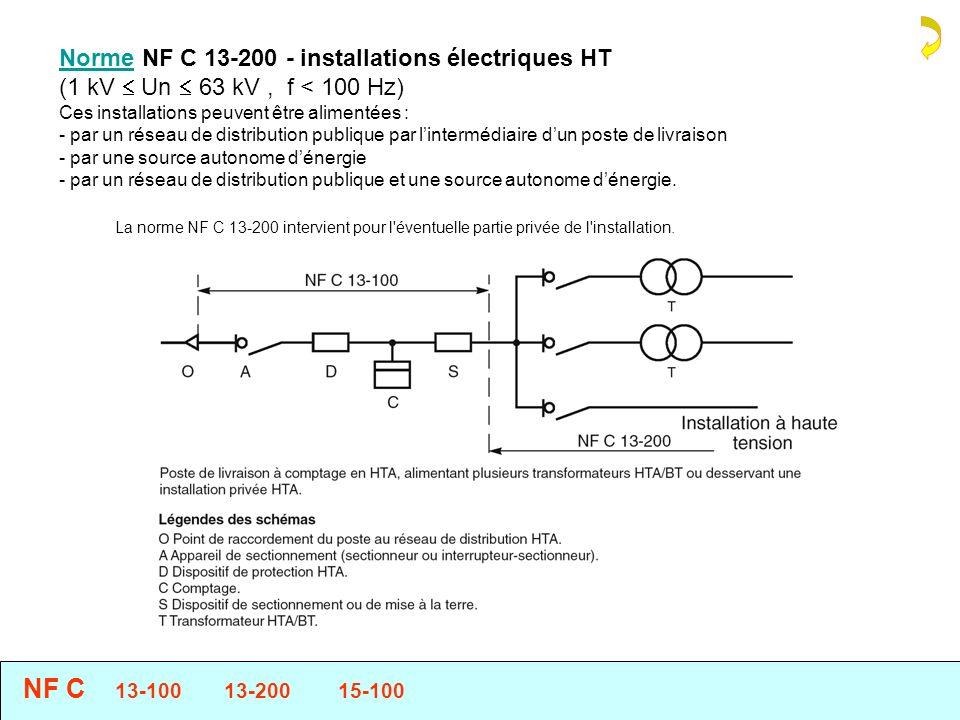 La norme NF C 13-200 intervient pour l éventuelle partie privée de l installation.