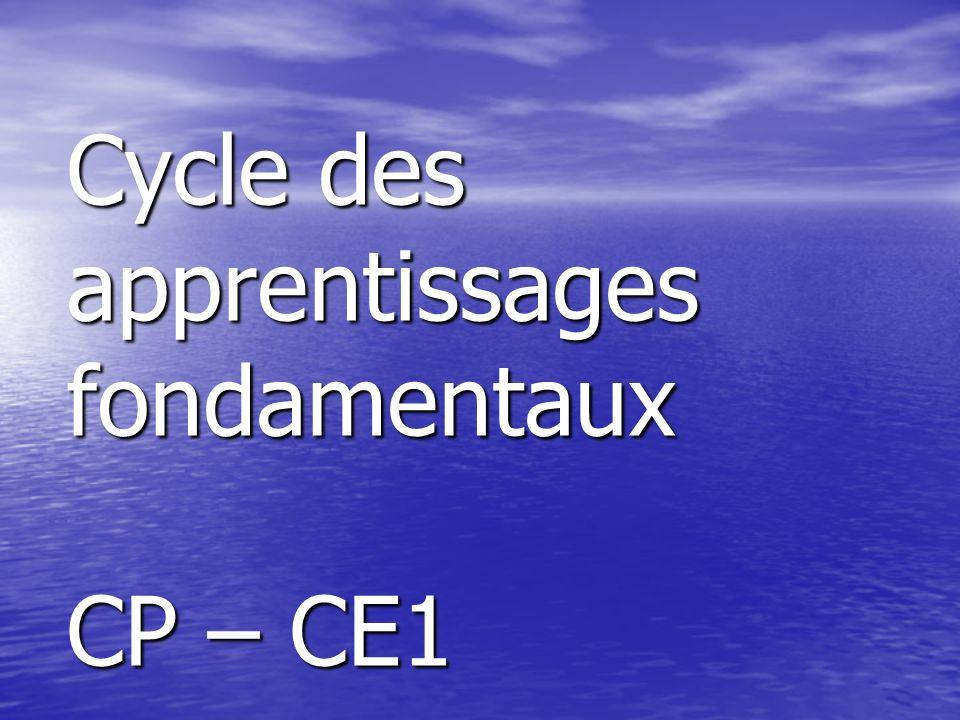 Cycle des apprentissages fondamentaux CP – CE1