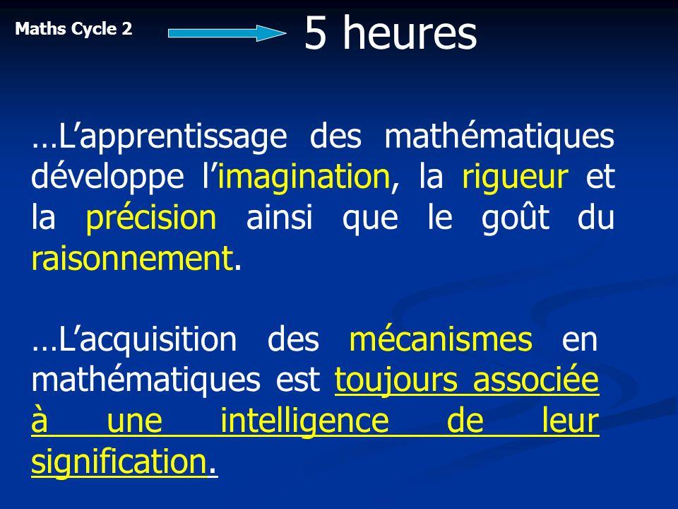 Maths Cycle 2 …Lapprentissage des mathématiques développe limagination, la rigueur et la précision ainsi que le goût du raisonnement. 5 heures …Lacqui