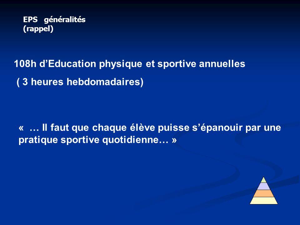EPS généralités (rappel) 108h dEducation physique et sportive annuelles ( 3 heures hebdomadaires) « … Il faut que chaque élève puisse sépanouir par un