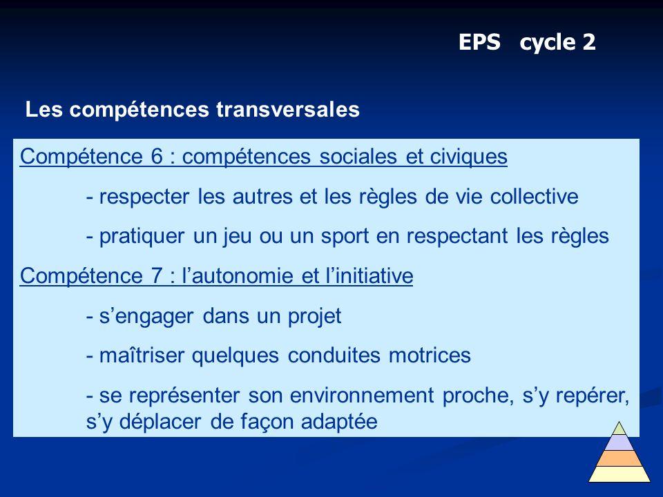 EPS cycle 2 Les compétences transversales Compétence 6 : compétences sociales et civiques - respecter les autres et les règles de vie collective - pra