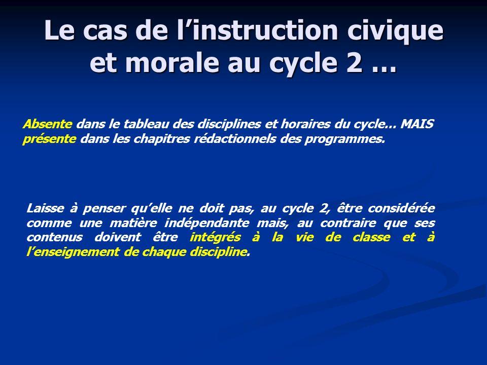Le cas de linstruction civique et morale au cycle 2 … Absente dans le tableau des disciplines et horaires du cycle… MAIS présente dans les chapitres r