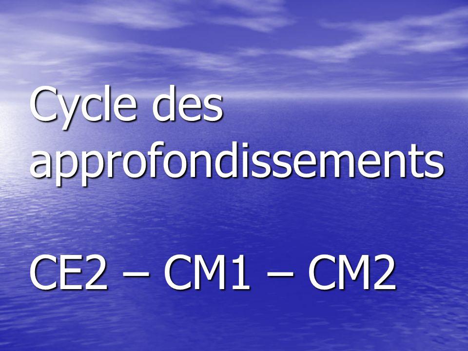 Cycle des approfondissements CE2 – CM1 – CM2