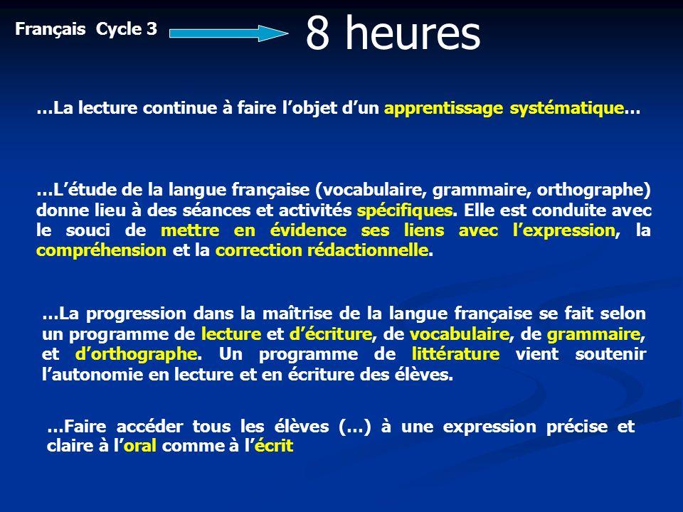 Français Cycle 3 8 heures …Létude de la langue française (vocabulaire, grammaire, orthographe) donne lieu à des séances et activités spécifiques. Elle