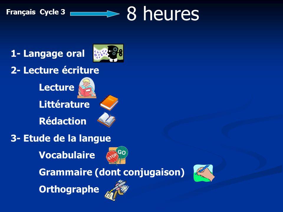 Français Cycle 3 8 heures 1- Langage oral 2- Lecture écriture Lecture Littérature Rédaction 3- Etude de la langue Vocabulaire Grammaire (dont conjugai