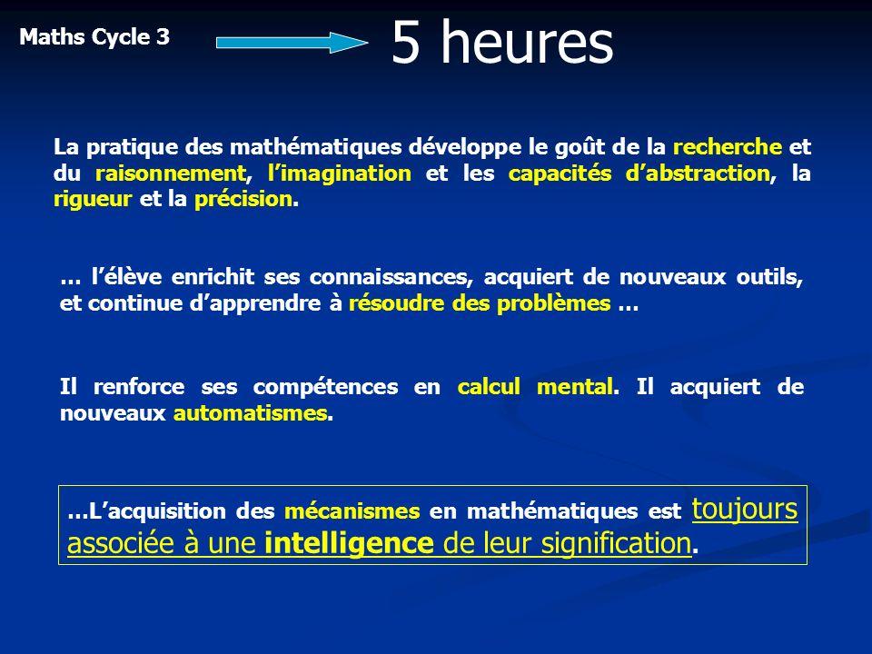 Maths Cycle 3 5 heures La pratique des mathématiques développe le goût de la recherche et du raisonnement, limagination et les capacités dabstraction,