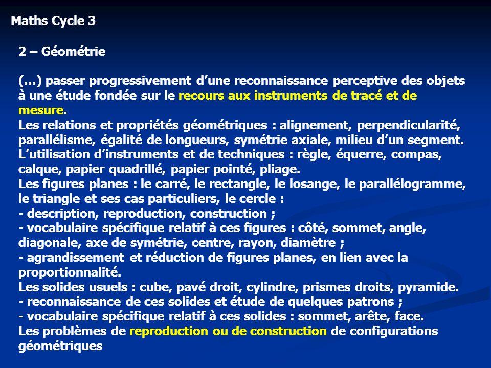 Maths Cycle 3 2 – Géométrie (…) passer progressivement dune reconnaissance perceptive des objets à une étude fondée sur le recours aux instruments de