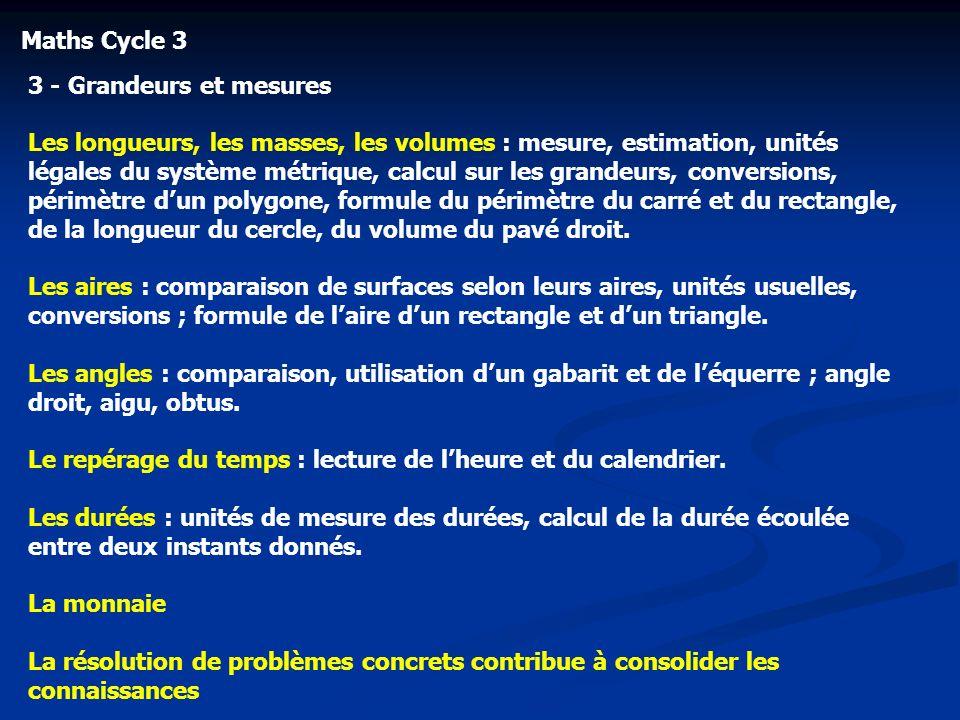 Maths Cycle 3 3 - Grandeurs et mesures Les longueurs, les masses, les volumes : mesure, estimation, unités légales du système métrique, calcul sur les