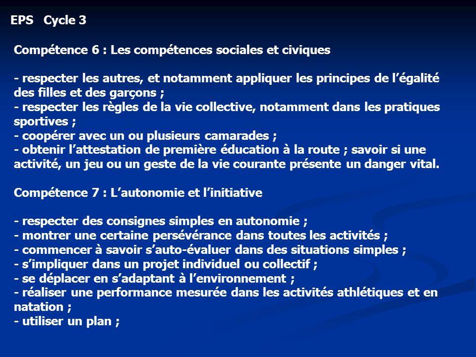 EPS Cycle 3 Compétence 6 : Les compétences sociales et civiques - respecter les autres, et notamment appliquer les principes de légalité des filles et