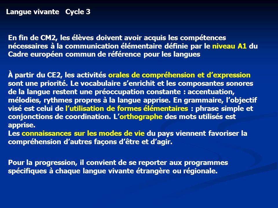 Langue vivante Cycle 3 En fin de CM2, les élèves doivent avoir acquis les compétences nécessaires à la communication élémentaire définie par le niveau