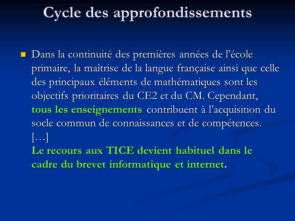 Cycle des approfondissements Dans la continuité des premières années de lécole primaire, la maîtrise de la langue française ainsi que celle des princi