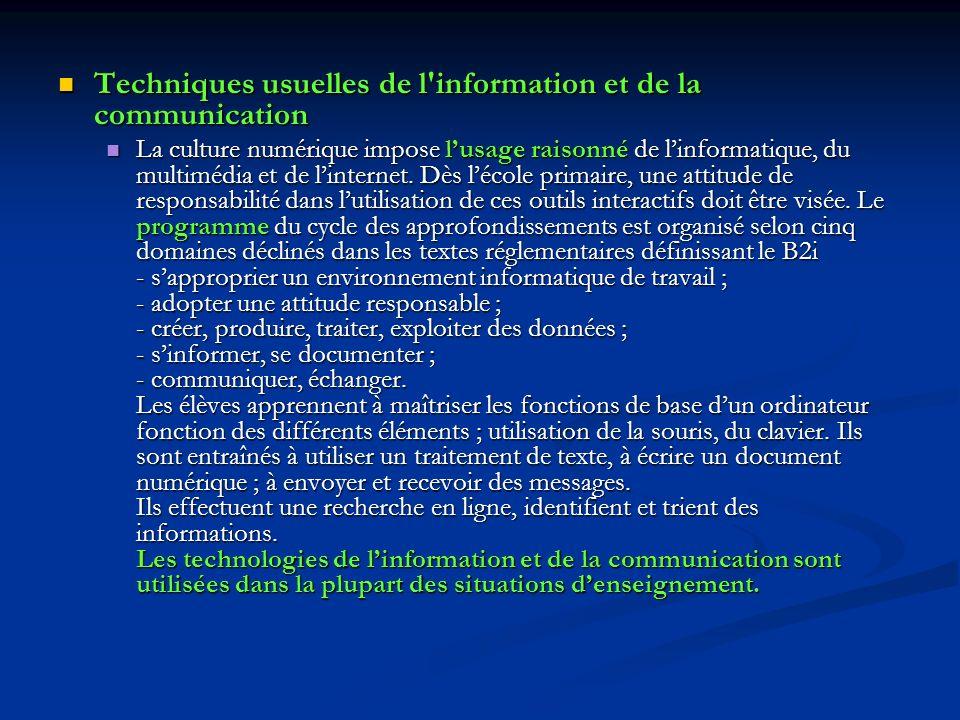 Techniques usuelles de l'information et de la communication Techniques usuelles de l'information et de la communication La culture numérique impose lu
