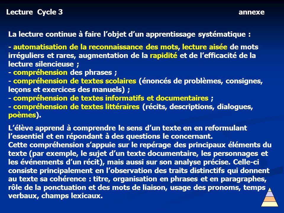 Lecture Cycle 3 La lecture continue à faire lobjet dun apprentissage systématique : - automatisation de la reconnaissance des mots, lecture aisée de m