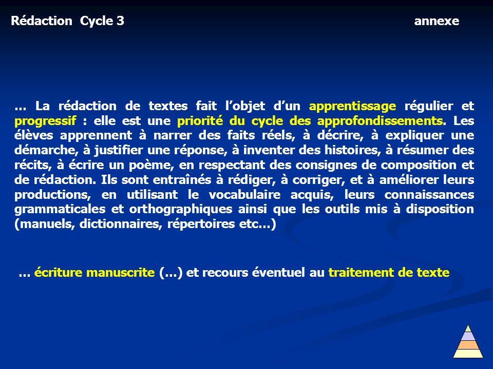 Rédaction Cycle 3 … La rédaction de textes fait lobjet dun apprentissage régulier et progressif : elle est une priorité du cycle des approfondissement