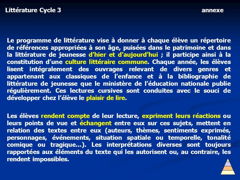 Littérature Cycle 3 Le programme de littérature vise à donner à chaque élève un répertoire de références appropriées à son âge, puisées dans le patrim