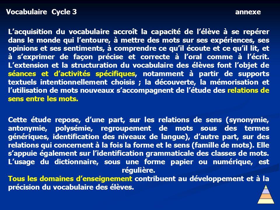 Vocabulaire Cycle 3 Lacquisition du vocabulaire accroît la capacité de lélève à se repérer dans le monde qui lentoure, à mettre des mots sur ses expér