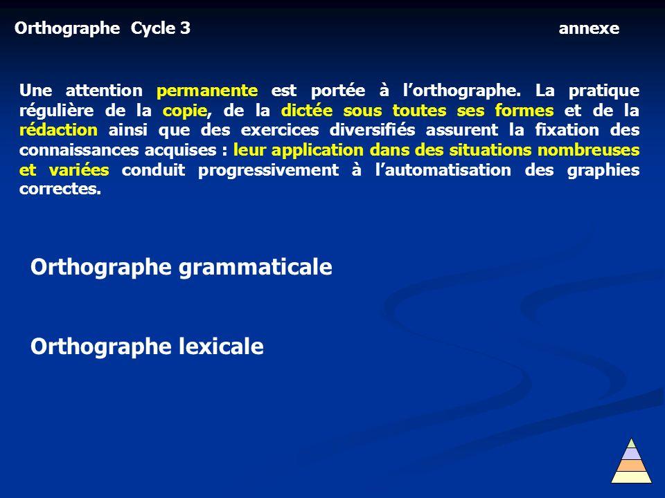 Orthographe Cycle 3 Une attention permanente est portée à lorthographe. La pratique régulière de la copie, de la dictée sous toutes ses formes et de l