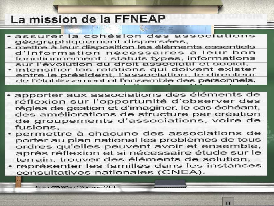 En résumé,la mission majeure de la FFNEAP est de promouvoir la vie associative et daccompagner les administrateurs dans leur action au service de lENSEIGNEMENT.