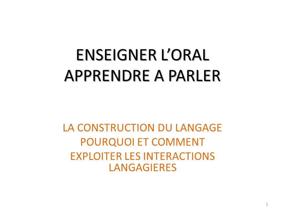 1 ENSEIGNER LORAL APPRENDRE A PARLER LA CONSTRUCTION DU LANGAGE POURQUOI ET COMMENT EXPLOITER LES INTERACTIONS LANGAGIERES
