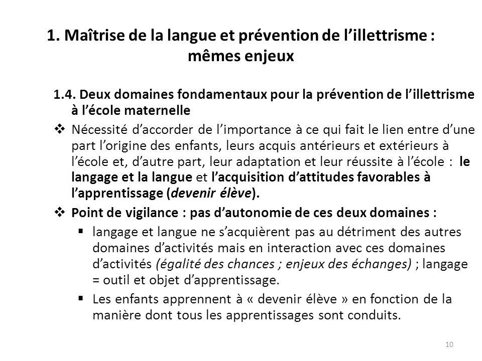 10 1. Maîtrise de la langue et prévention de lillettrisme : mêmes enjeux 1.4. Deux domaines fondamentaux pour la prévention de lillettrisme à lécole m