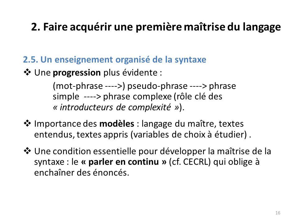 16 2. Faire acquérir une première maîtrise du langage 2.5. Un enseignement organisé de la syntaxe Une progression plus évidente : (mot-phrase ---->) p