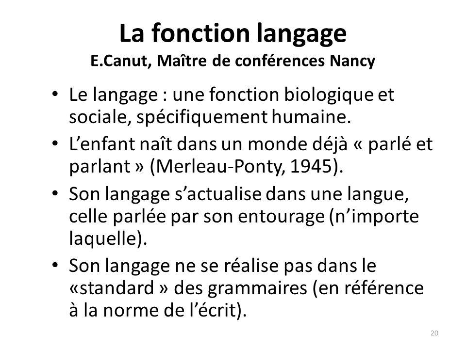 La fonction langage E.Canut, Maître de conférences Nancy Le langage : une fonction biologique et sociale, spécifiquement humaine. Lenfant naît dans un