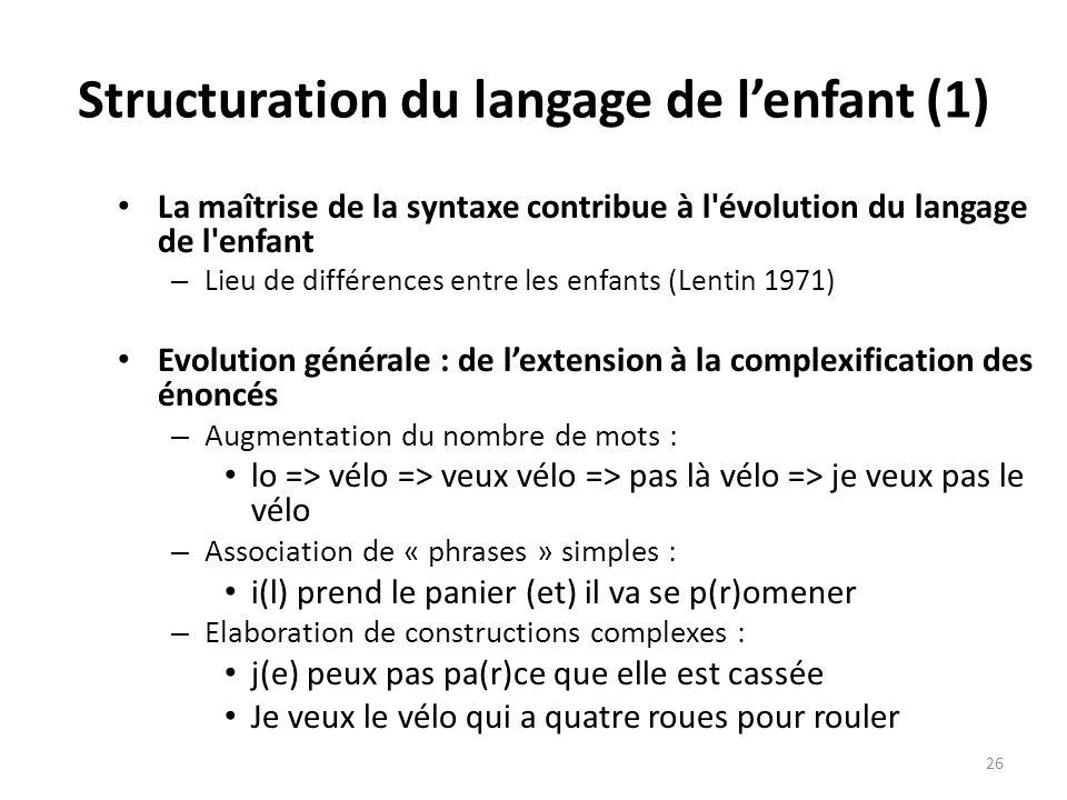 Structuration du langage de lenfant (1) La maîtrise de la syntaxe contribue à l'évolution du langage de l'enfant – Lieu de différences entre les enfan