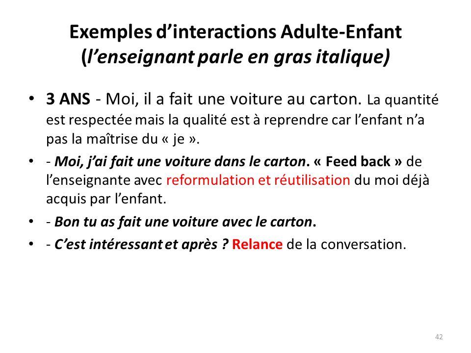 Exemples dinteractions Adulte-Enfant (lenseignant parle en gras italique) 3 ANS - Moi, il a fait une voiture au carton. La quantité est respectée mais