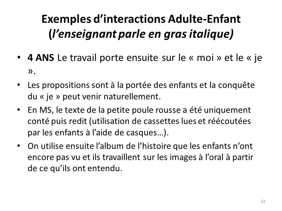 Exemples dinteractions Adulte-Enfant (lenseignant parle en gras italique) 4 ANS Le travail porte ensuite sur le « moi » et le « je ». Les propositions