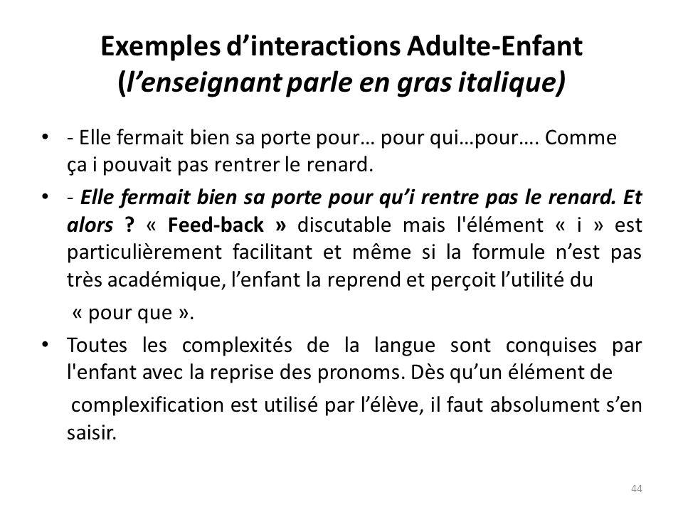 Exemples dinteractions Adulte-Enfant (lenseignant parle en gras italique) - Elle fermait bien sa porte pour… pour qui…pour…. Comme ça i pouvait pas re