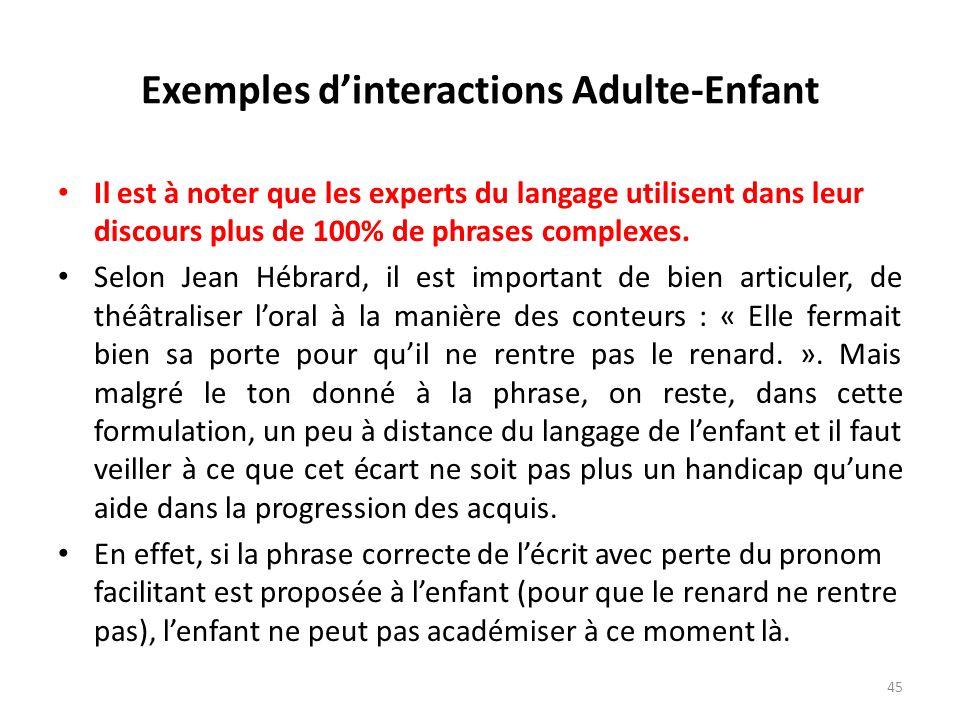 Exemples dinteractions Adulte-Enfant Il est à noter que les experts du langage utilisent dans leur discours plus de 100% de phrases complexes. Selon J