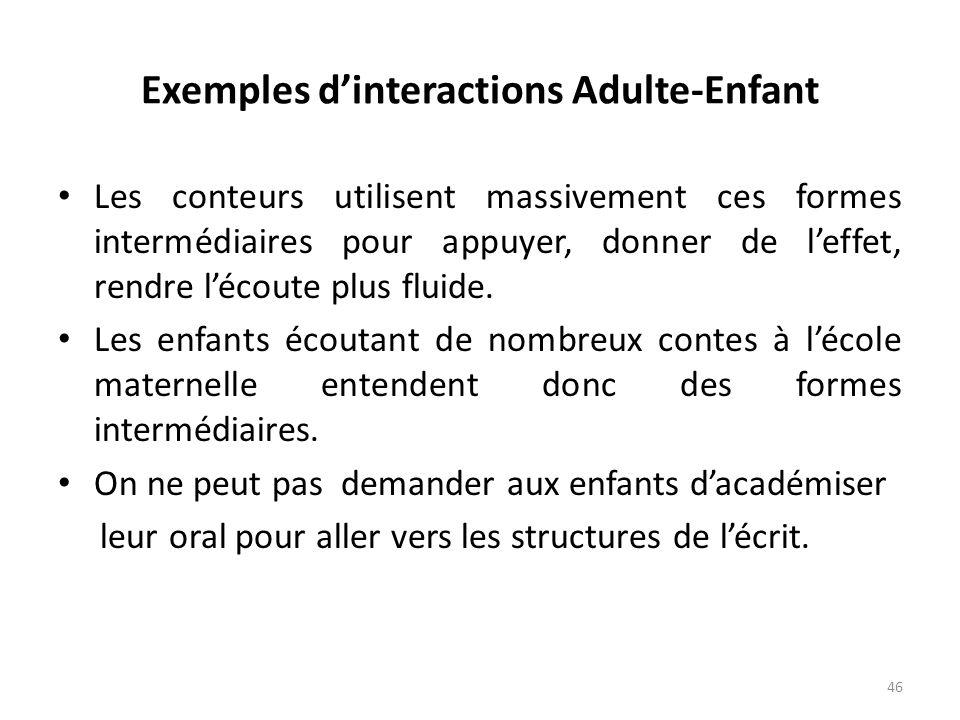 Exemples dinteractions Adulte-Enfant Les conteurs utilisent massivement ces formes intermédiaires pour appuyer, donner de leffet, rendre lécoute plus