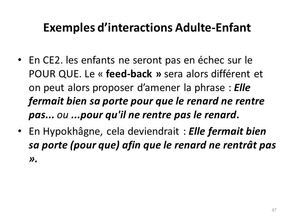 Exemples dinteractions Adulte-Enfant En CE2. les enfants ne seront pas en échec sur le POUR QUE. Le « feed-back » sera alors différent et on peut alor
