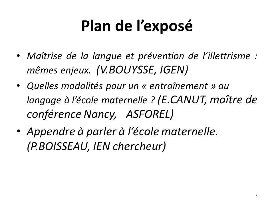 Plan de lexposé Maîtrise de la langue et prévention de lillettrisme : mêmes enjeux. (V.BOUYSSE, IGEN) Quelles modalités pour un « entraînement » au la