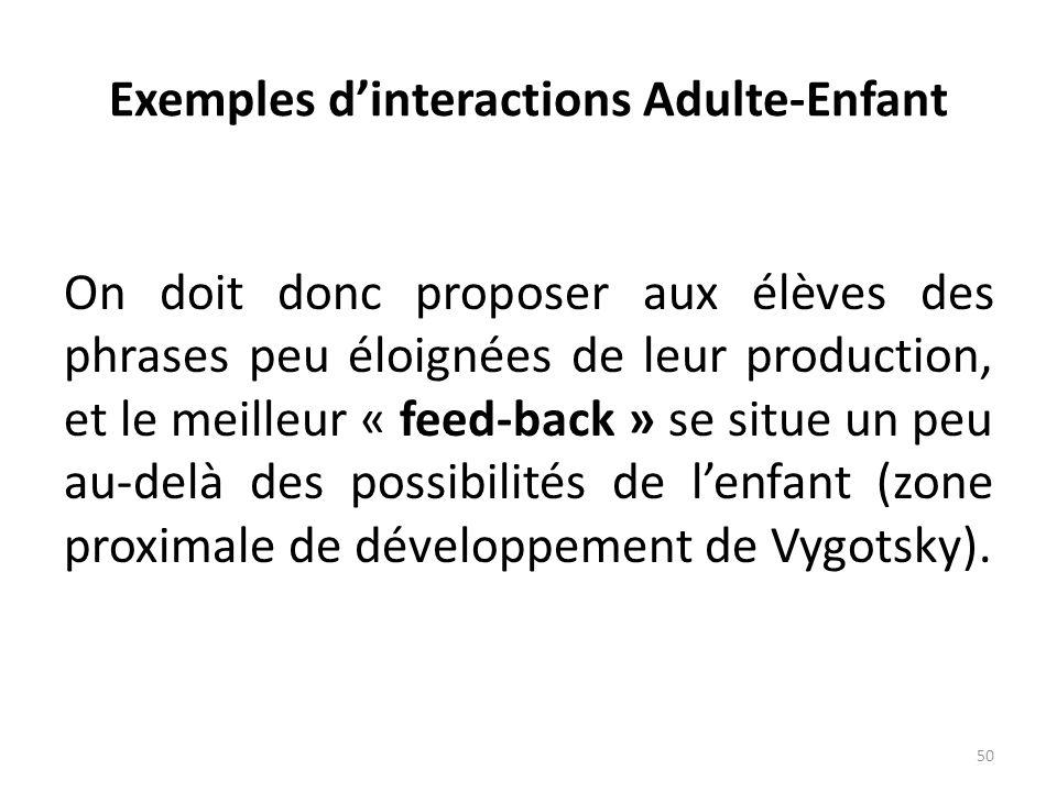 Exemples dinteractions Adulte-Enfant On doit donc proposer aux élèves des phrases peu éloignées de leur production, et le meilleur « feed-back » se si