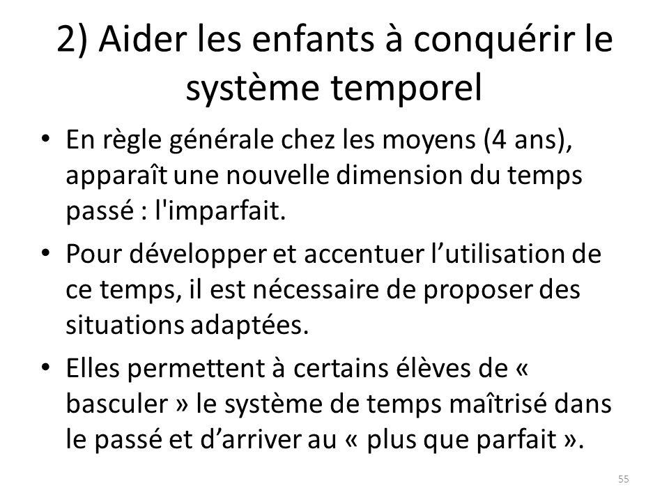2) Aider les enfants à conquérir le système temporel En règle générale chez les moyens (4 ans), apparaît une nouvelle dimension du temps passé : l'imp